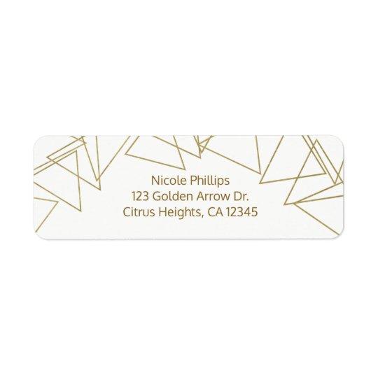 Wild One Gold Geometric Triangles Modern Glamour Return Address Label
