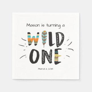 Wild one Paper Napkin Tribal Boy Birthday Feathers