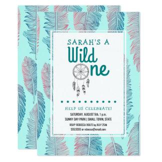 Wild One Tribal 1st Birthday Teal Card