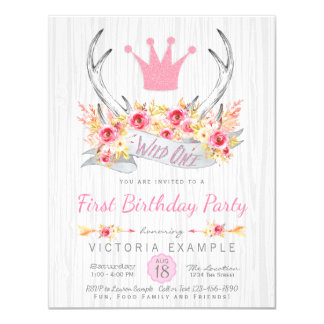 Wild One Tribal Antler Boho Princess  Invitation