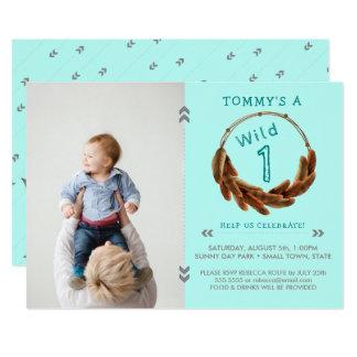 Wild One Tribal Arrow Feathers Boho 1st Birthday Card