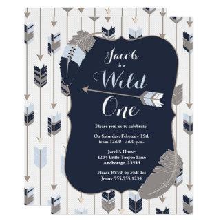 Wild ONE Tribal Arrows Birthday Party Blue Grey Card