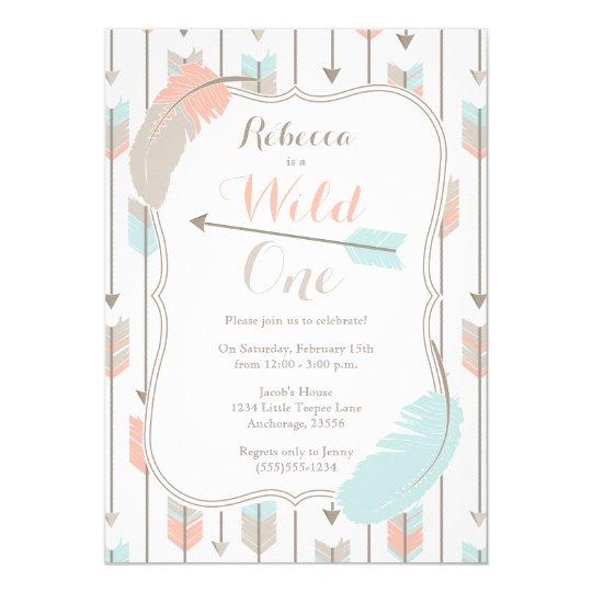 Wild ONE Tribal Arrows Birthday Party Pink Grey Card