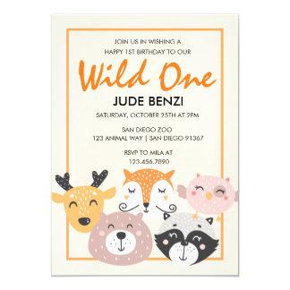 Wild One Woodland Animal First Birthday invitation