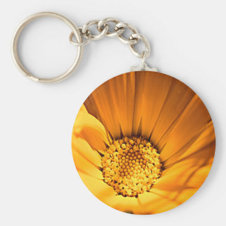 Wild Orange Daisy Basic Round Button Keychain