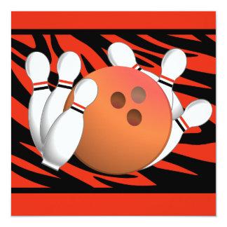 Wild Orange Zebra Stripe Bowling Party Card