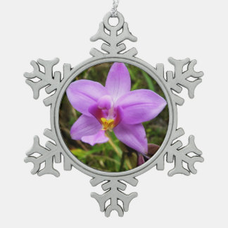 Wild Orchid Purple Tropical Flower Snowflake Pewter Christmas Ornament