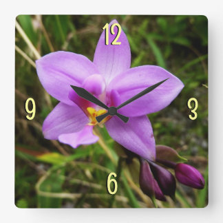 Wild Orchid Purple Tropical Flower Wall Clock