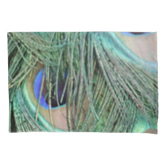 Wild Peacock Feathers Green And Tan Pillowcase