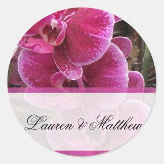 Wild pink orchids classic round sticker