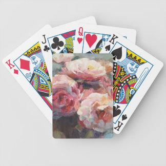 Wild Pink Roses Bicycle Playing Cards