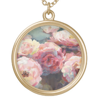 Wild Pink Roses Gold Plated Necklace