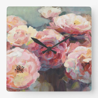 Wild Pink Roses Square Wall Clock