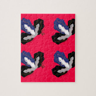 Wild pinkred Orchids with Black Jigsaw Puzzle