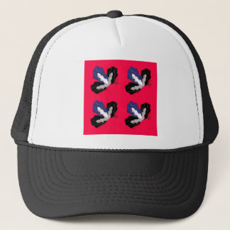 Wild pinkred Orchids with Black Trucker Hat