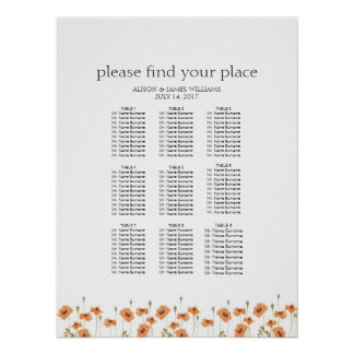 Wild poppy wedding dinner seating chart