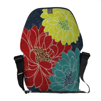 Wild Primary Color Flowers on Navy Damask Style Courier Bag