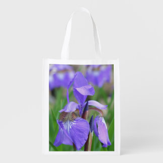 Wild Purple Blue Flag Iris Flower Reusable Grocery Bag
