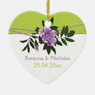 Wild purple rose floral wedding green keepsake ceramic ornament