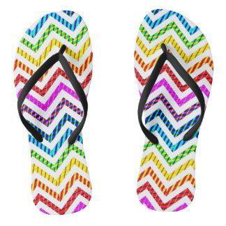 Wild Rainbow Chevron Pattern Flip Flops