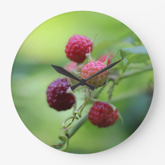 Wild Raspberries Large Clock