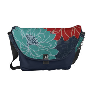 Wild Red and Teal Flowers on Navy Damask Style Commuter Bag