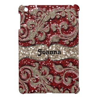 Wild Red Festive Glitter Glamour Personalized iPad Mini Cases