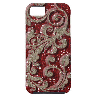 Wild Red Festive Glitter Look Case For The iPhone 5