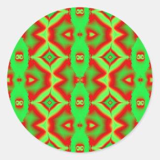 wild red green classic round sticker