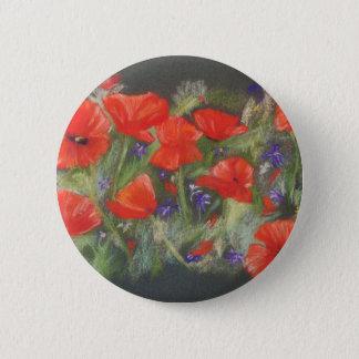 Wild red poppies display 2 inch round button
