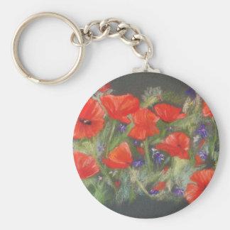 Wild red poppies display basic round button keychain