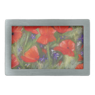 Wild red poppies display belt buckle