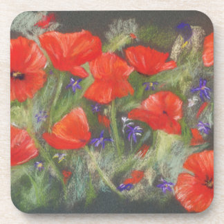 Wild red poppies display beverage coaster