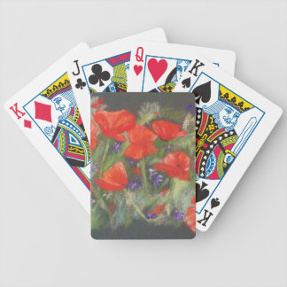 Wild red poppies display bicycle playing cards