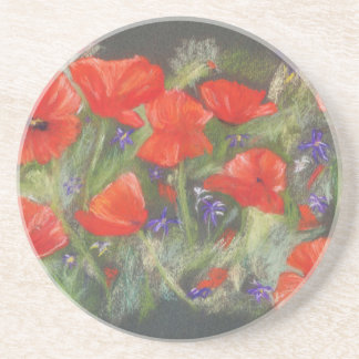 Wild red poppies display drink coaster