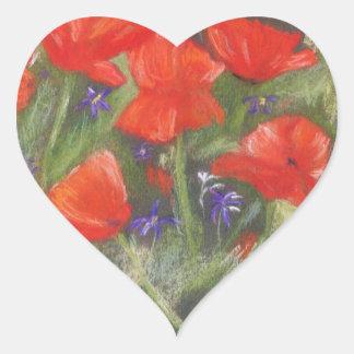 Wild red poppies display heart sticker