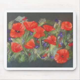 Wild red poppies display mouse pad