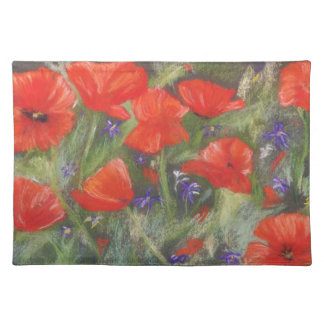 Wild red poppies display placemat