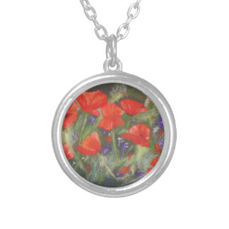 Wild red poppies display silver plated necklace
