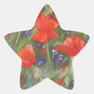 Wild red poppies display star sticker
