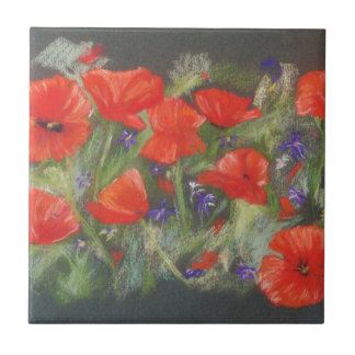 Wild red poppies display tile