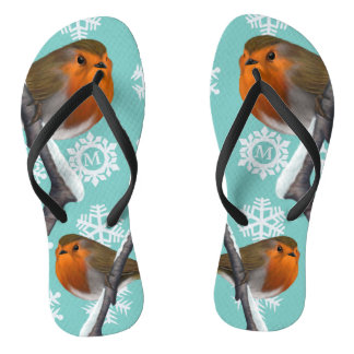 Wild Red Robins in the Snow Festive Flip Flops
