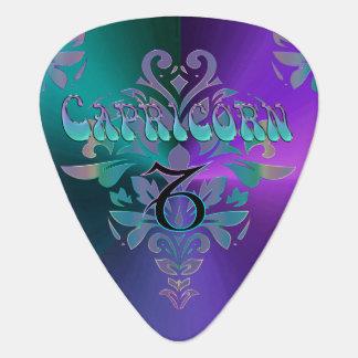 Wild  Retro Zodiac Sign Capricorn Monogram Guitar Pick