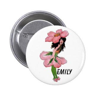 Wild Rose Cute Flower Child Floral Vintage Girl 2 Inch Round Button