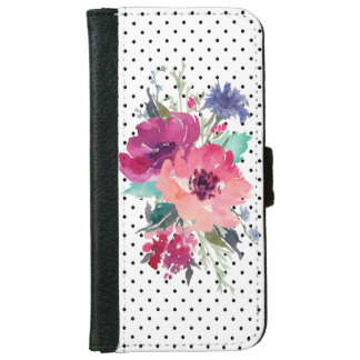 Wild Rose Floral on Dots Background iPhone 6 Wallet Case