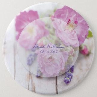 Wild Rose & Lavender Summer Flower Wedding 6 Inch Round Button