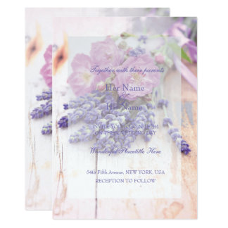 Wild Rose & Lavender Summer Flower Wedding Card