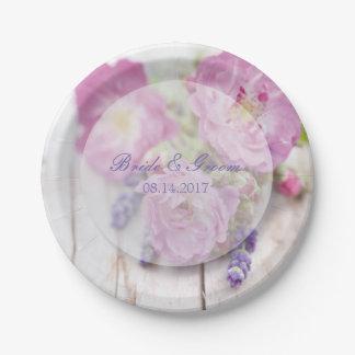 Wild Rose & Lavender Summer Flower Wedding Paper Plate