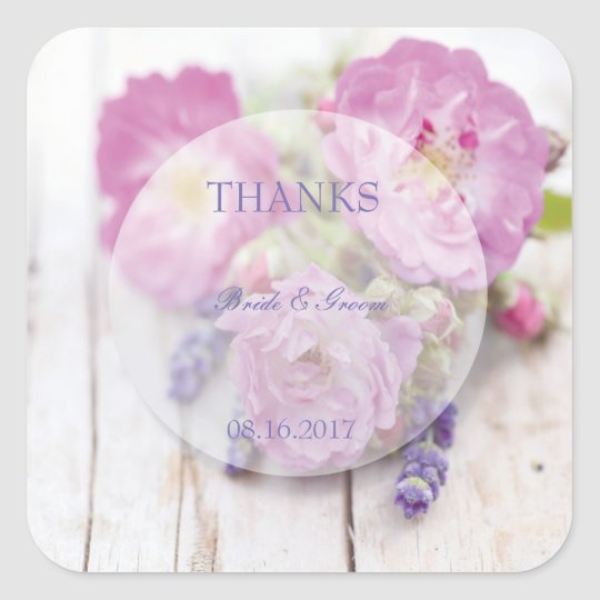 Wild Rose & Lavender Summer Wedding Thanks Square Sticker