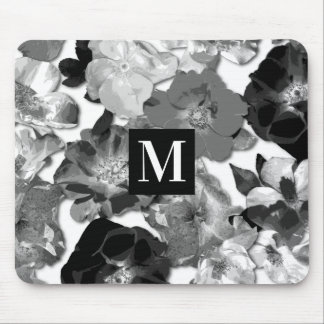 Wild Rose Pattern Black and White Monogram Mouse Pad